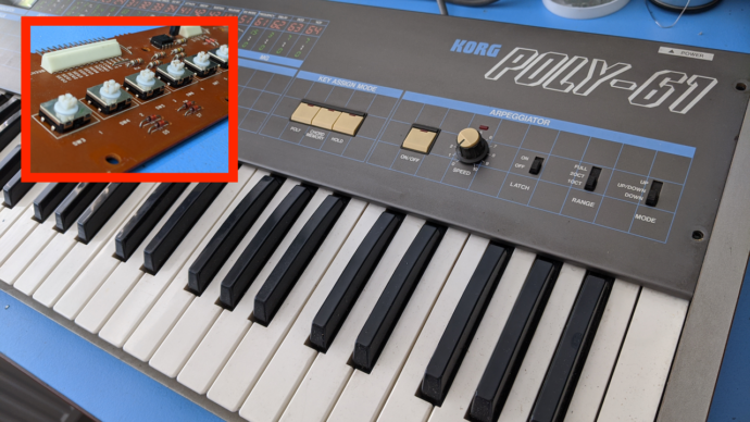 Korg Poly-61 – Replacing All Buttons
