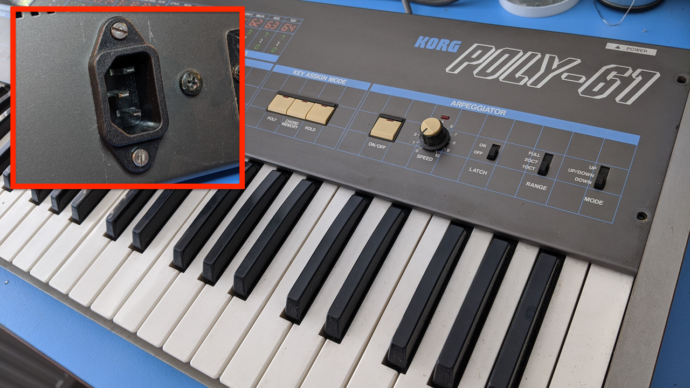 Korg Poly 61 – Installing a Power Socket (IEC C14)