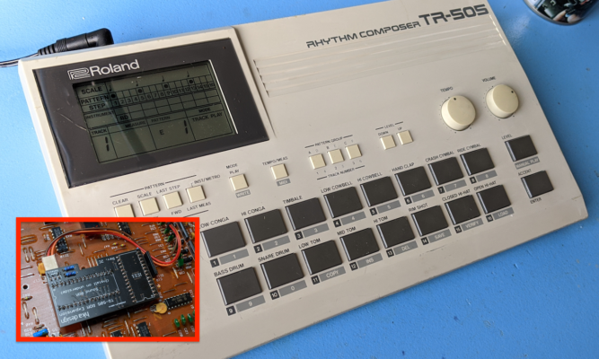 Roland TR-505 – Installation of HKA Design ROM Expansion